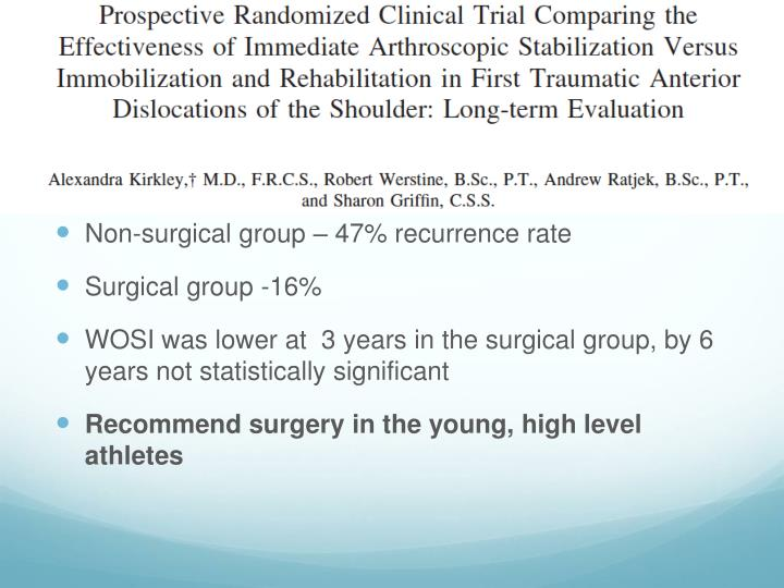 Non-surgical group – 47% recurrence rate