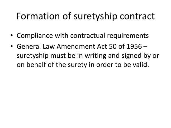 Formation of suretyship contract