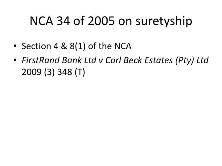 NCA 34 of 2005 on suretyship