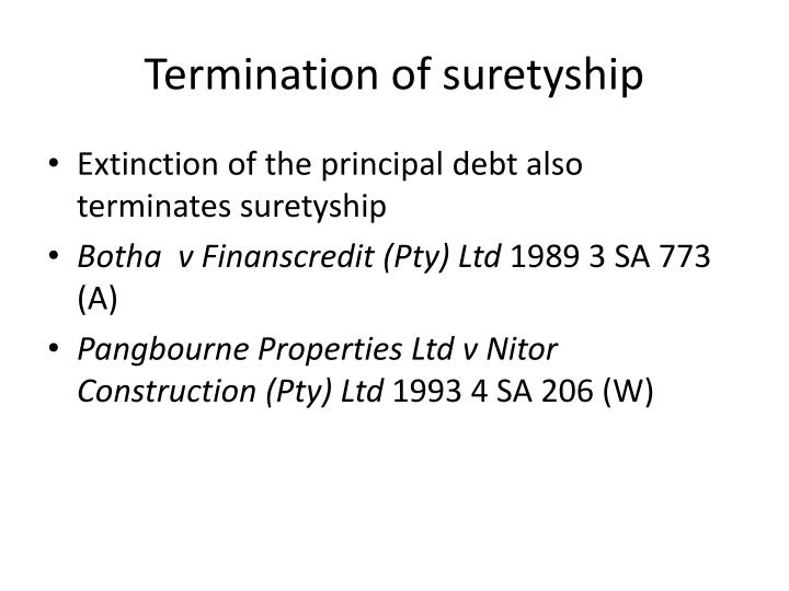 Termination of suretyship