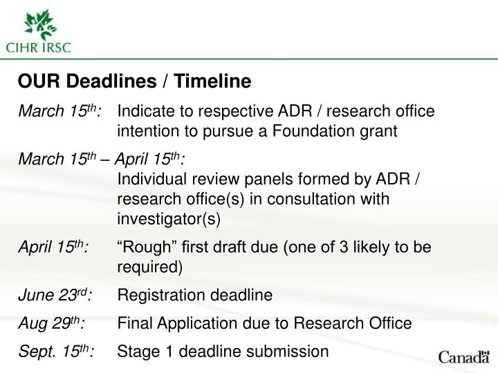 OUR Deadlines / Timeline