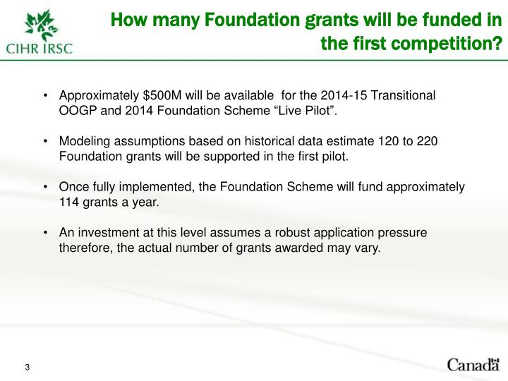 How many Foundation grants will be funded in the first competition?