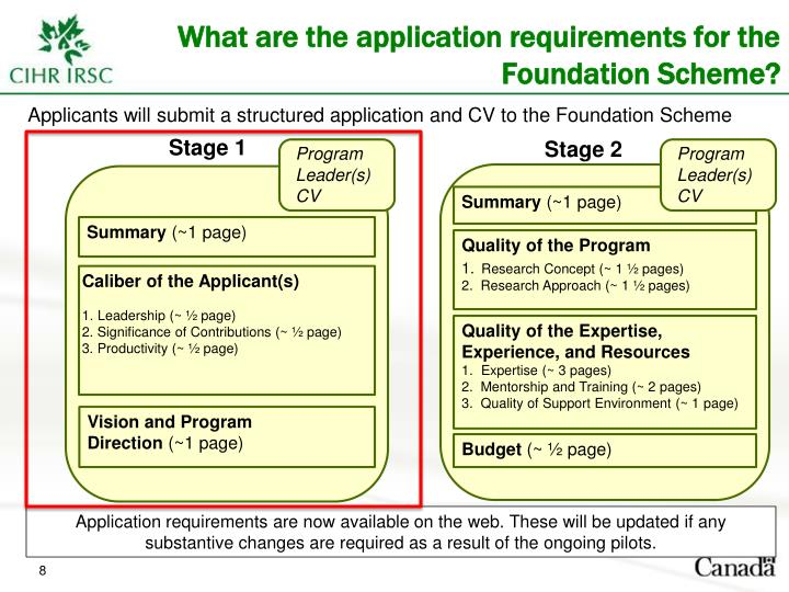 What are the application requirements for the Foundation Scheme?
