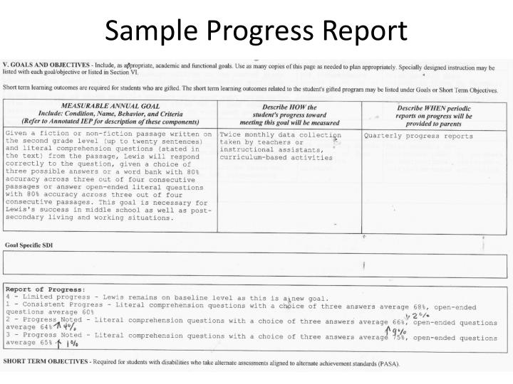 Sample Progress Report