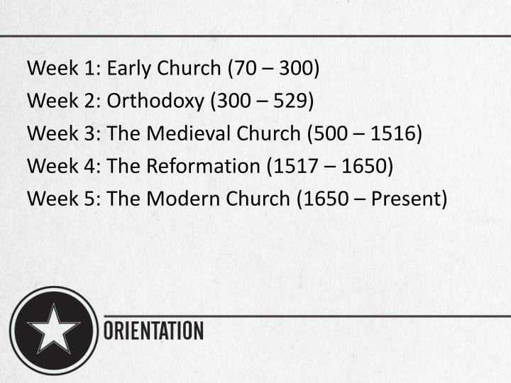 Week 1: Early Church (70 – 300)