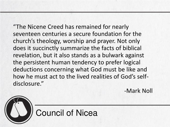 The Nicene Creed has remained for nearly seventeen centuries a secure foundation for the churchs theology, worship and prayer. Not only does it succinctly summarize the facts of biblical revelation, but it also stands as a bulwark against the persistent human tendency to prefer logical deductions concerning what God must be like and how he must act to the lived realities of Gods self-disclosure.