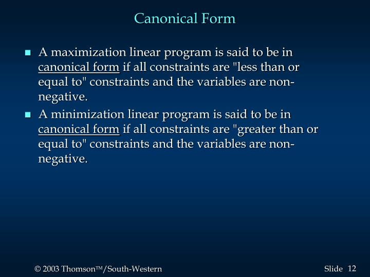 Canonical Form