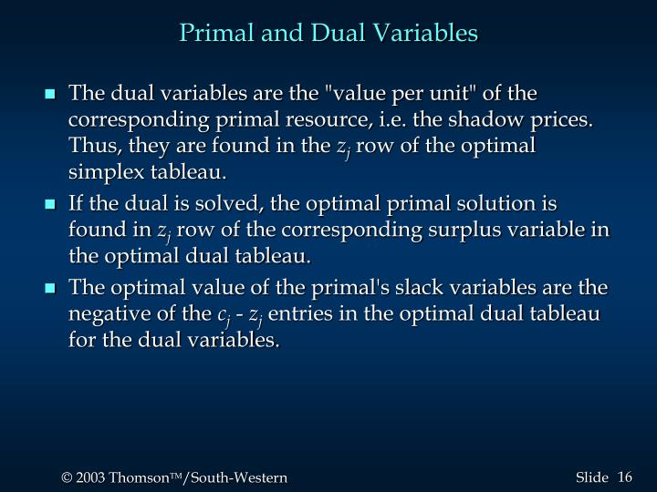 Primal and Dual Variables