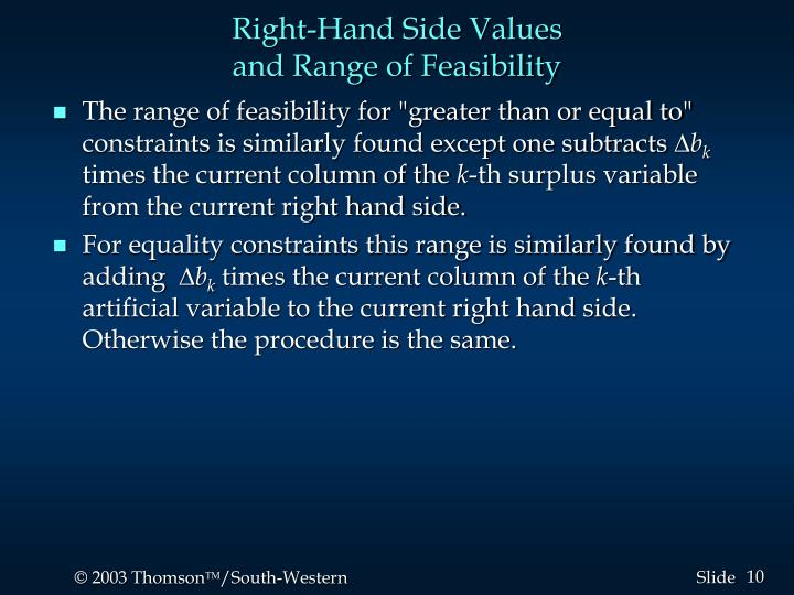 Right-Hand Side Values