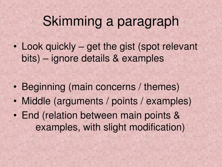 Skimming a paragraph