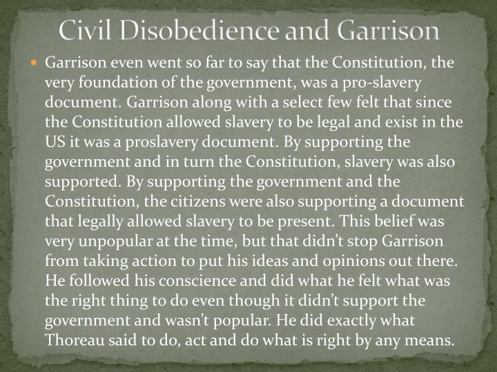 Civil Disobedience and Garrison