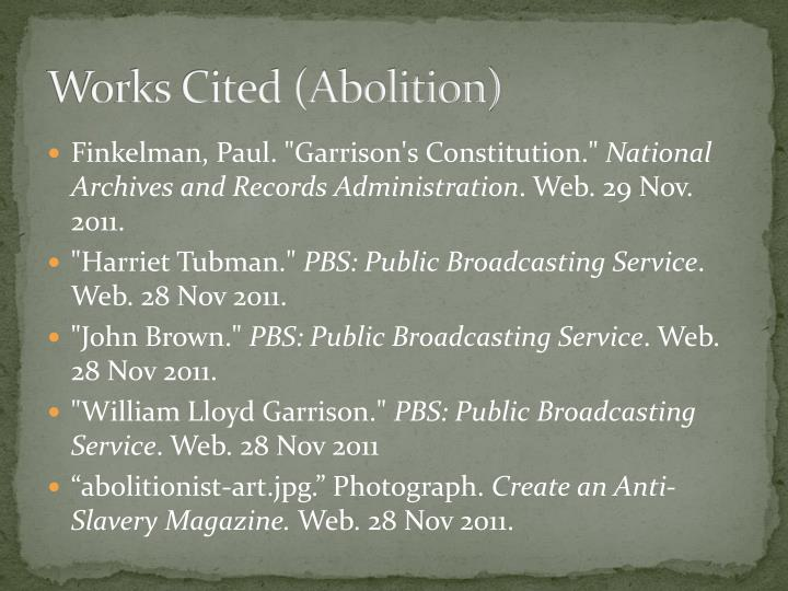 Works Cited (Abolition)