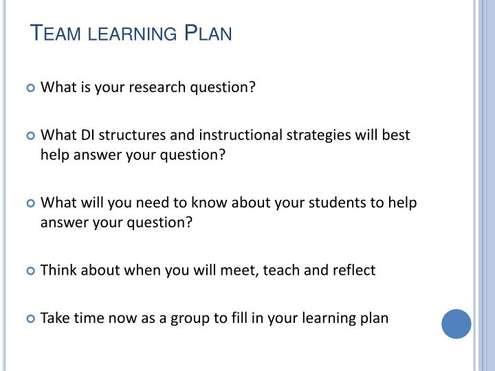 Team learning Plan