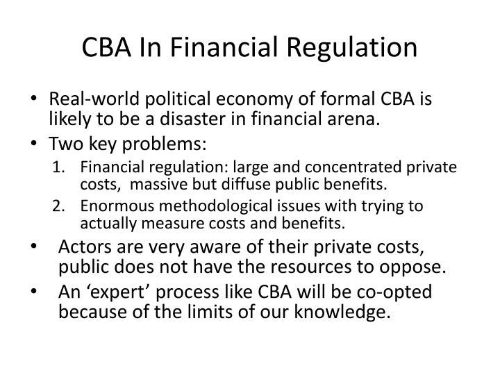 CBA In Financial Regulation