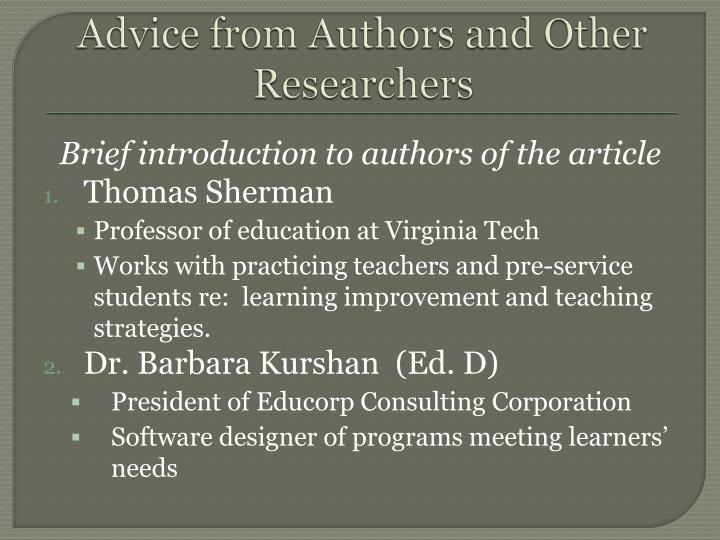 Advice from Authors and Other Researchers