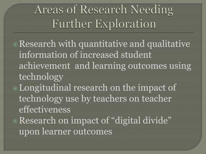 Areas of Research Needing Further Exploration