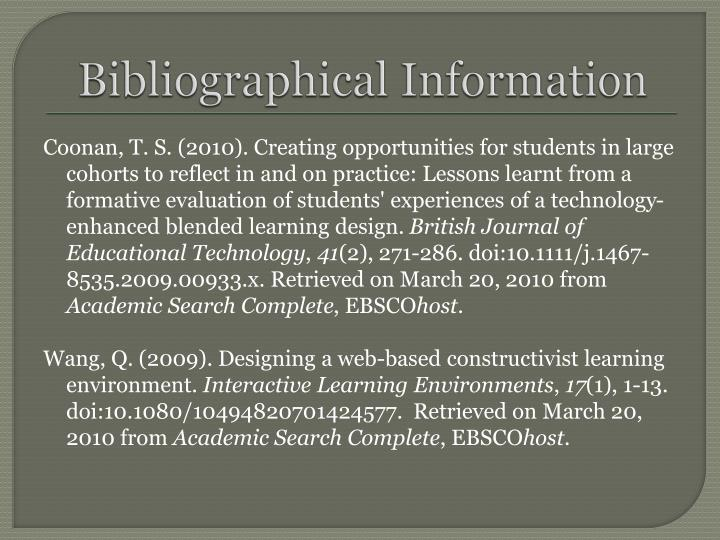 Bibliographical Information