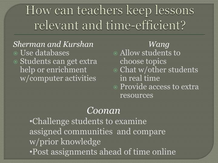 How can teachers keep lessons relevant and time-efficient?