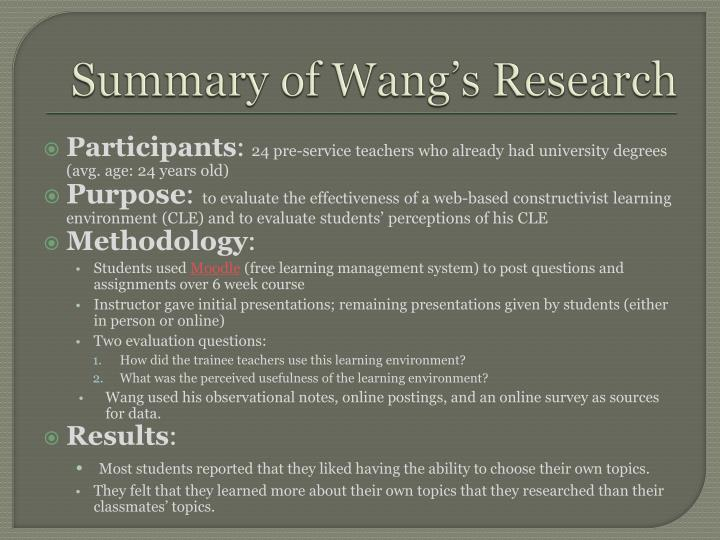 Summary of Wang's Research