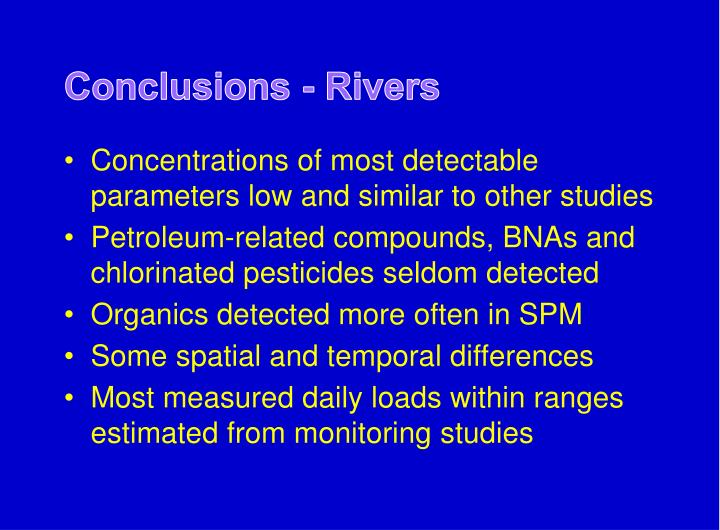 Conclusions - Rivers