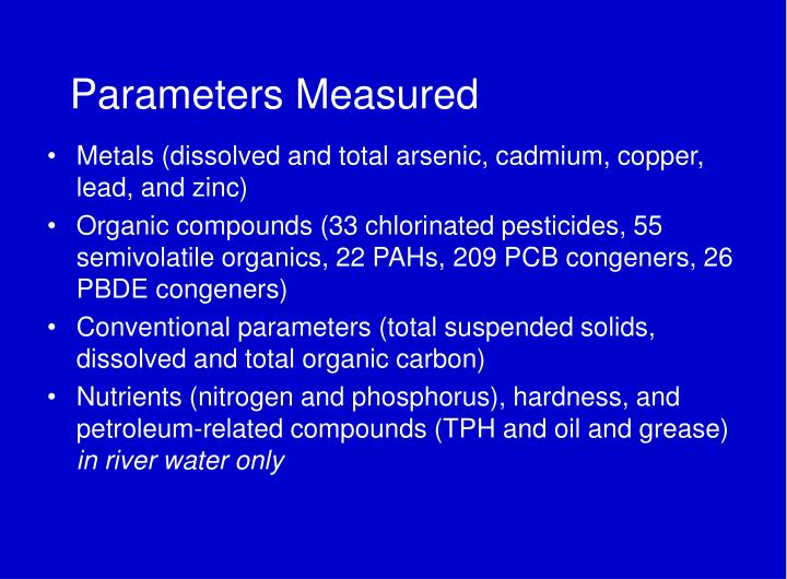 Parameters Measured