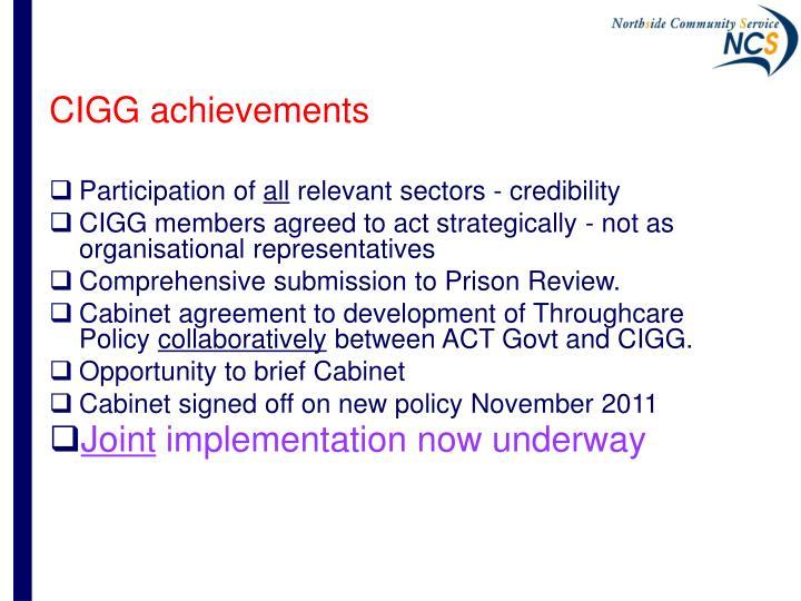 CIGG achievements