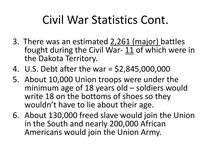 Civil War Statistics Cont.