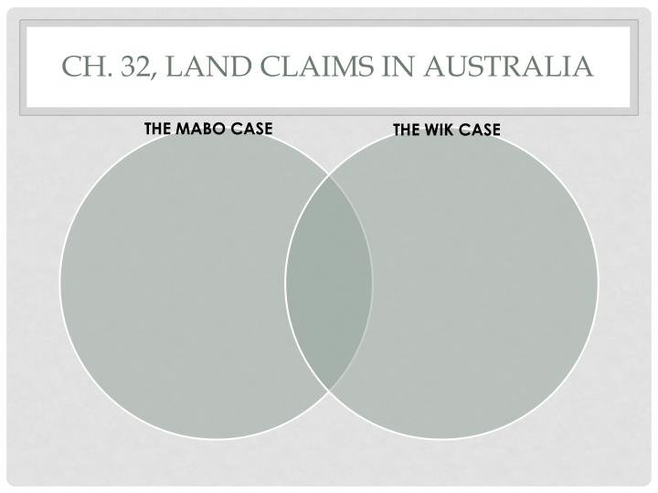 Ch. 32, Land claims in Australia