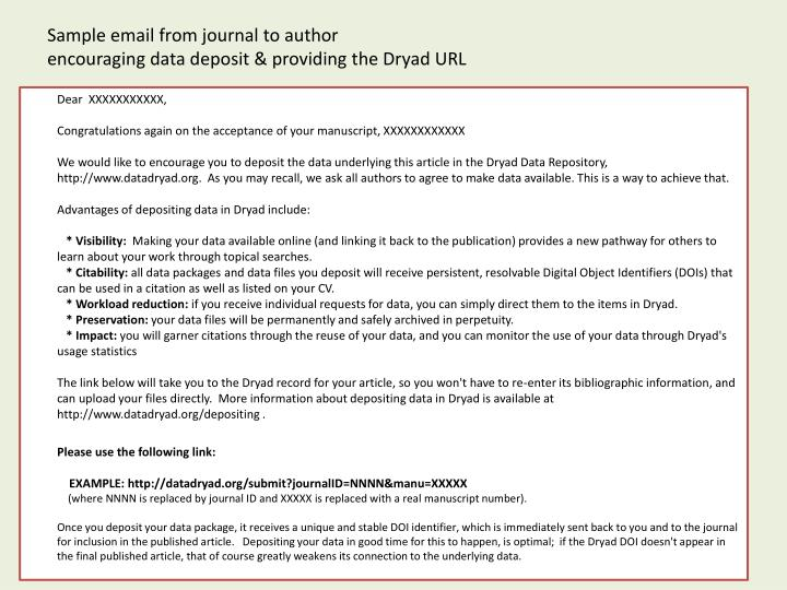 Sample email from journal to author