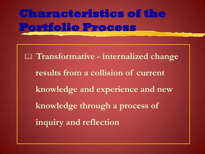 Characteristics of the Portfolio Process