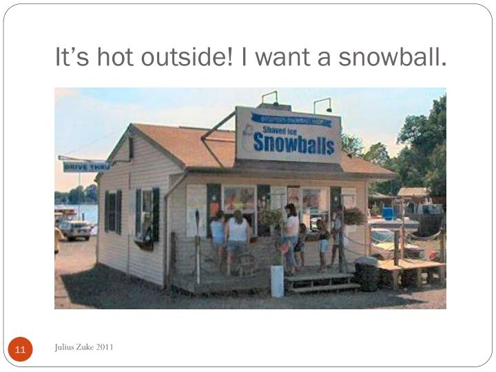 It's hot outside! I want a snowball.
