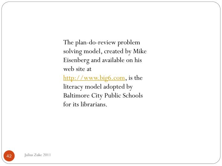 The plan-do-review problem solving model, created by Mike Eisenberg and available on his web site at