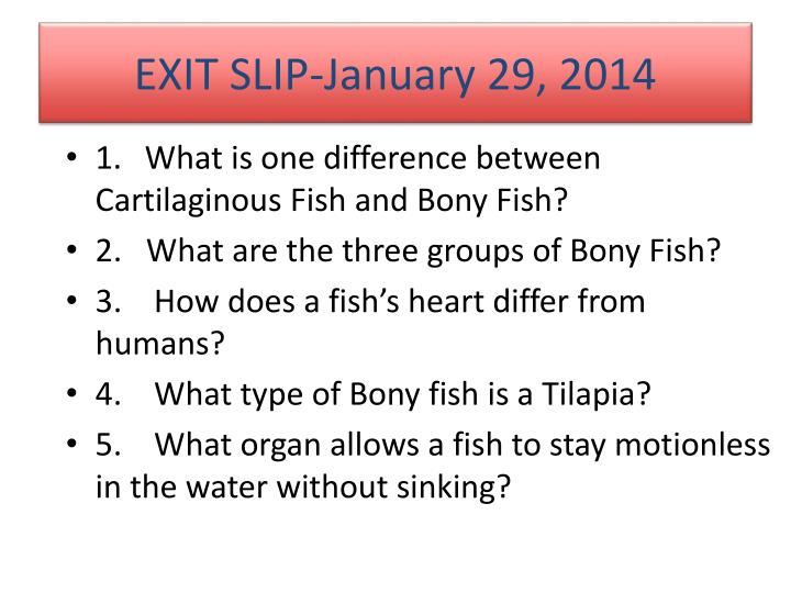 EXIT SLIP-January 29, 2014