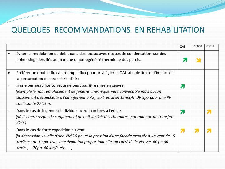 QUELQUES  RECOMMANDATIONS  EN REHABILITATION