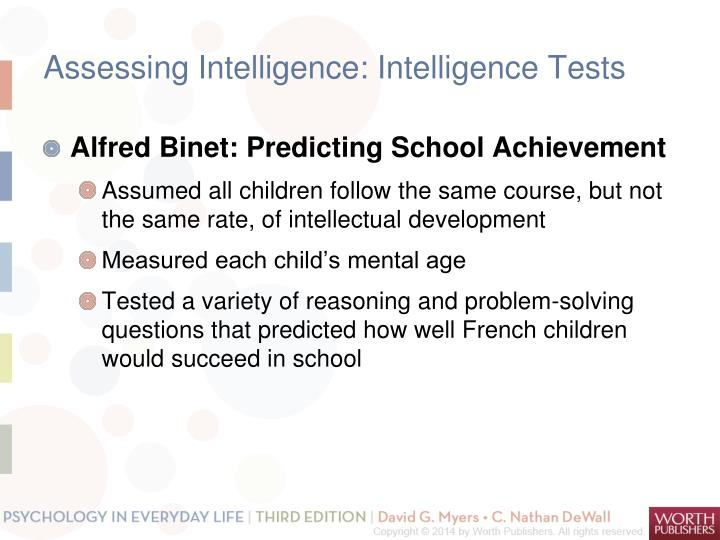 Assessing Intelligence: Intelligence Tests