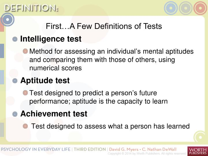 First…A Few Definitions of Tests