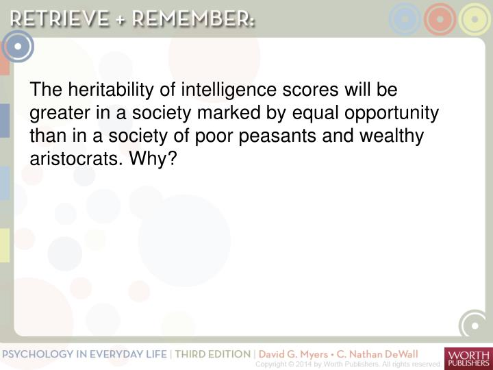 The heritability of intelligence scores