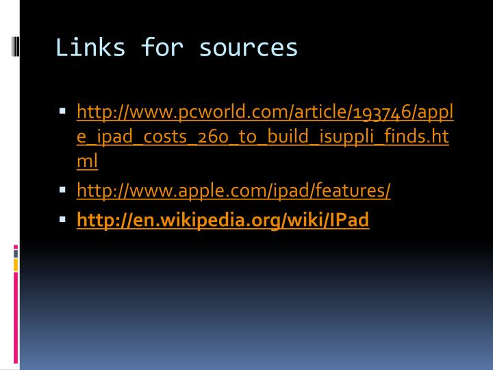 Links for sources