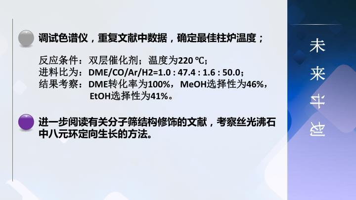 调试色谱仪,重复文献中数据,确定最佳柱炉温度;