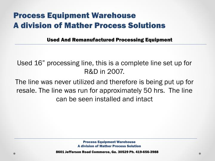 Process Equipment Warehouse