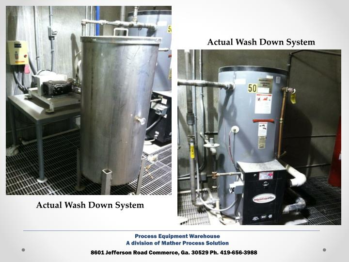 Actual Wash Down System