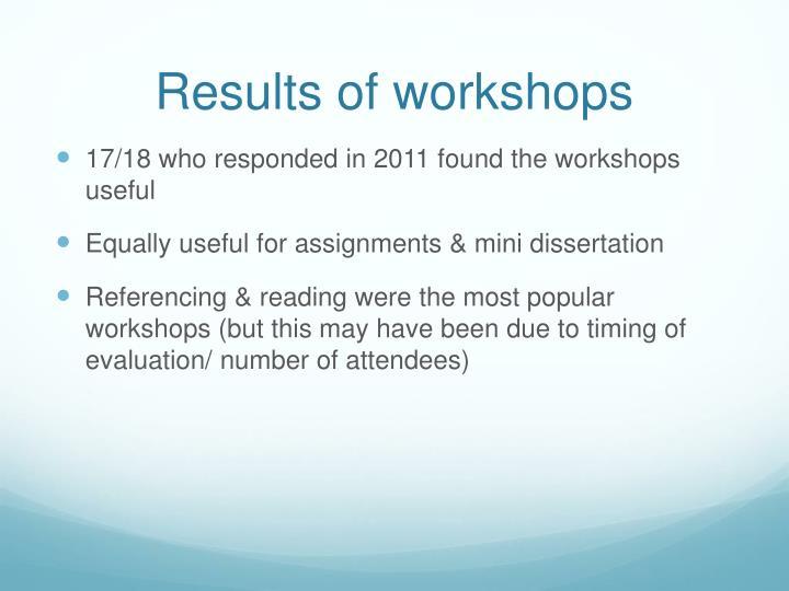 Results of workshops