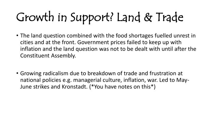 Growth in Support? Land & Trade
