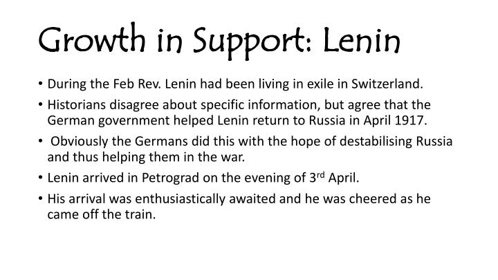 Growth in support lenin