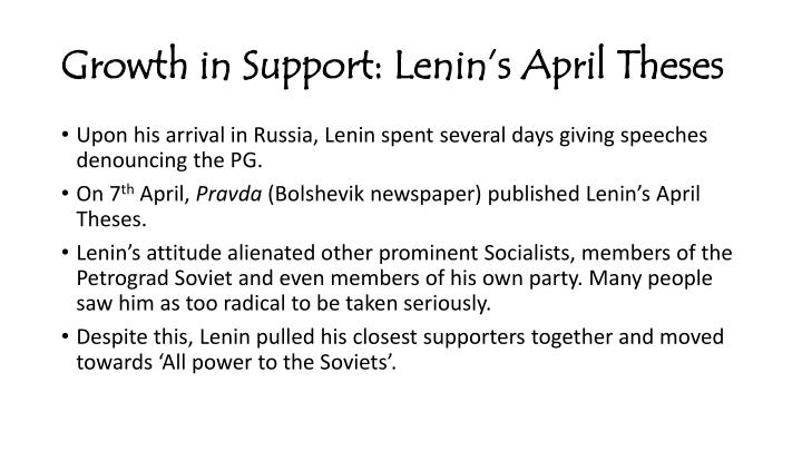 Growth in support lenin s april theses