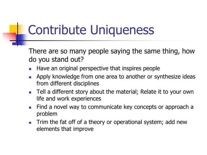 Contribute Uniqueness