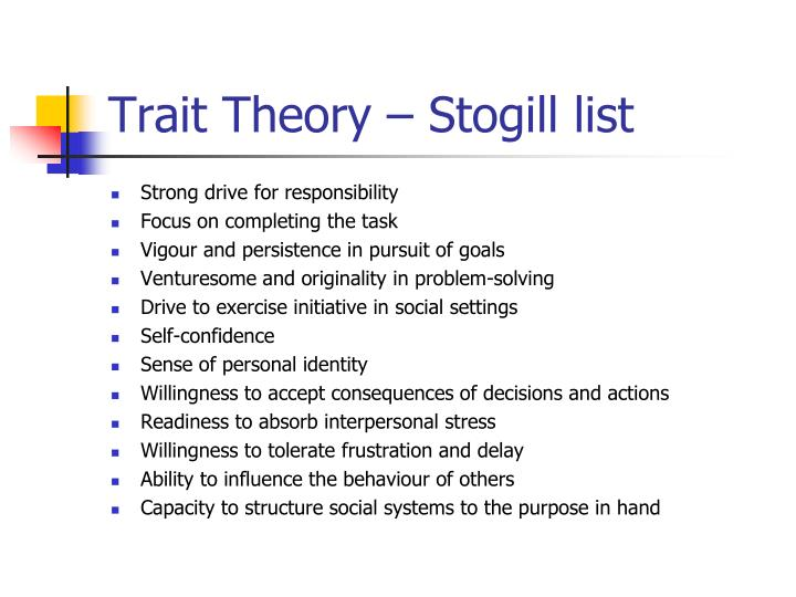 Trait Theory –