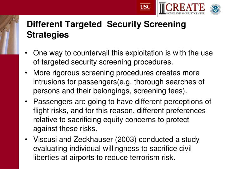 Different Targeted  Security Screening Strategies