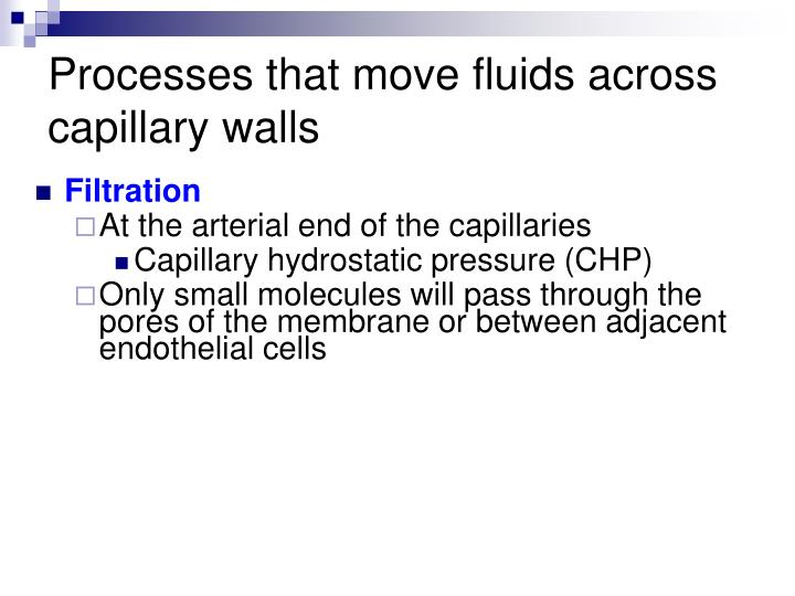 Processes that move fluids across capillary walls