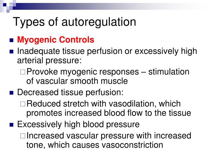 Types of autoregulation